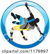 Clipart Of Silhouetted Wrestlers In Blue And Yellow Uniforms In A Blue Circle Royalty Free Vector Illustration by Lal Perera