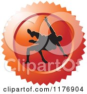 Clipart Of A Red Wrestling Logo With Silhouetted Wrestlers Royalty Free Vector Illustration by Lal Perera