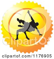 Clipart Of A Yellow Wrestling Logo With Silhouetted Wrestlers Royalty Free Vector Illustration by Lal Perera