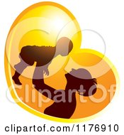 Clipart Of A Nurturing Mother Holding Up A Baby In A Sunset Heart Royalty Free Vector Illustration