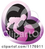 Clipart Of A Nurturing Mother Holding Up A Baby In A Purple And Black Heart Royalty Free Vector Illustration