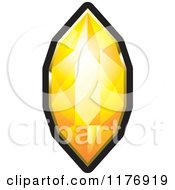 Clipart Of A Long Orange Diamond With A Black And Gold Setting Royalty Free Vector Illustration