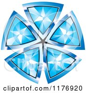 Clipart Of A Pendant Made Of Blue Triangular Diamonds Royalty Free Vector Illustration