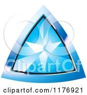 Clipart Of A Blue Triangular Diamond Royalty Free Vector Illustration
