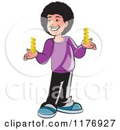 Clipart Of A Happy Boy With A Fro Holding Gold Coins Royalty Free Vector Illustration