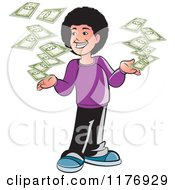 Clipart Of A Happy Boy With A Fro And Falling Cash Royalty Free Vector Illustration by Lal Perera