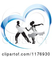 Clipart Of A Ballroom Dancer Couple In Silver Outfits Dancing In A Blue Heart Royalty Free Vector Illustration