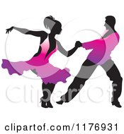 Clipart Of A Ballroom Dancer Couple In Purple Outfits Royalty Free Vector Illustration