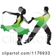 Clipart Of A Ballroom Dancer Couple In Green Outfits Royalty Free Vector Illustration