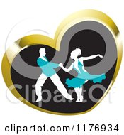 Clipart Of A Ballroom Dancer Couple In Turquoise Outfits Dancing In A Gold Heart Royalty Free Vector Illustration