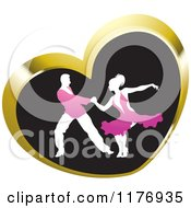 Clipart Of A Ballroom Dancer Couple In Pink Outfits Dancing In A Gold Heart Royalty Free Vector Illustration