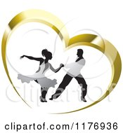 Clipart Of A Ballroom Dancer Couple In Silver Outfits Dancing In A Gold Heart Royalty Free Vector Illustration