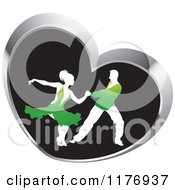 Clipart Of A Ballroom Dancer Couple In Green Outfits Dancing In A Silver Heart Royalty Free Vector Illustration