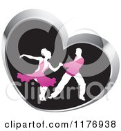 Clipart Of A Ballroom Dancer Couple In Pink Outfits Dancing In A Silver Heart Royalty Free Vector Illustration