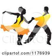 Clipart Of A Ballroom Dancer Couple In Orange Outfits Royalty Free Vector Illustration