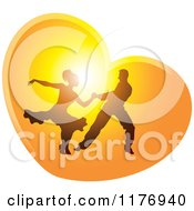 Clipart Of A Silhouetted Ballroom Dancer Couple Dancing In A Sunset Heart Royalty Free Vector Illustration