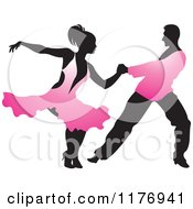 Clipart Of A Ballroom Dancer Couple In Pink Outfits Royalty Free Vector Illustration
