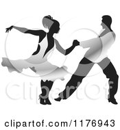 Clipart Of A Ballroom Dancer Couple In Silver Outfits Royalty Free Vector Illustration