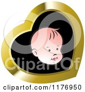 Clipart Of A White Baby Face Over Black In A Gold Heart Royalty Free Vector Illustration