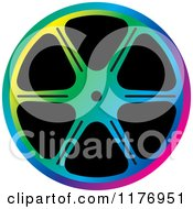 Clipart Of A Colorful Film Reel Royalty Free Vector Illustration