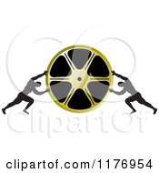 Clipart Of Two Men Pushing Inward On A Gold Film Reel Royalty Free Vector Illustration by Lal Perera