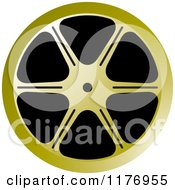 Clipart Of A Golden Film Reel Royalty Free Vector Illustration by Lal Perera