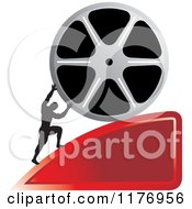 Clipart Of A Silhouetted Man Pushing A Film Reel Over A Red Wedge Royalty Free Vector Illustration by Lal Perera