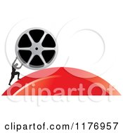 Clipart Of A Silhouetted Man Pushing A Film Reel Over A Red Hill Royalty Free Vector Illustration by Lal Perera