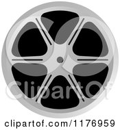 Clipart Of A Silver Film Reel Royalty Free Vector Illustration by Lal Perera