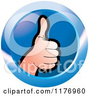 Clipart Of A Thumb Up Hand On A Blue Icon Royalty Free Vector Illustration by Lal Perera