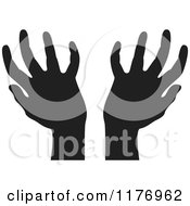 Clipart Of Silhouetted Worship Hands Royalty Free Vector Illustration