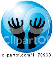 Clipart Of Silhouetted Worship Hands On A Blue Circle Royalty Free Vector Illustration