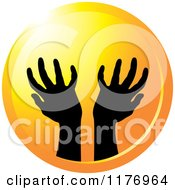Clipart Of Silhouetted Worship Hands On A Sunset Circle Royalty Free Vector Illustration