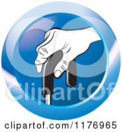 Clipart Of A Black And White Senior Hand On A Cane On A Blue Icon Royalty Free Vector Illustration