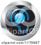 Clipart Of A Blue Ear Design With A Speaker On A Black And Silver Icon Royalty Free Vector Illustration by Lal Perera