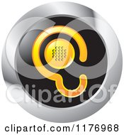 Clipart Of A Yellow Ear Design With A Speaker On A Black And Silver Icon Royalty Free Vector Illustration by Lal Perera