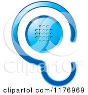 Clipart Of A Blue Ear Design With A Speaker Royalty Free Vector Illustration