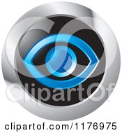 Clipart Of A Blue Eye On Black In A Round Silver Icon Royalty Free Vector Illustration by Lal Perera