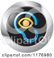 Clipart Of An Ear And Eye Design On A Black And Silver Icon Royalty Free Vector Illustration by Lal Perera