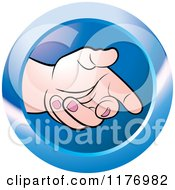 Clipart Of An Extended Offering Hand On A Blue Icon Royalty Free Vector Illustration