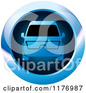 Clipart Of A Mini Van With Glasses On A Blue Icon Royalty Free Vector Illustration