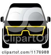 Clipart Of A Black Mini Van With Eye Glasses Royalty Free Vector Illustration