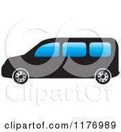 Clipart Of A Black Mini Van With Blue Windows Royalty Free Vector Illustration