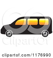 Clipart Of A Black Mini Van With Orange Windows Royalty Free Vector Illustration