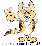 Cartoon Of A Peaceful Jackal Smiling And Gesturing The Peace Sign Royalty Free Vector Clipart