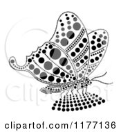 Clipart Of A Black Rhinestone Dot Butterfly Royalty Free Vector Illustration by Cherie Reve