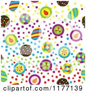 Clipart Of A Seamless Background Pattern Of Colorful Candy And Dots Royalty Free Vector Illustration