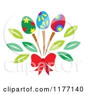 Clipart Of A Bouquet Of Easter Egg Flowers And A Red Bow Royalty Free Vector Illustration by Cherie Reve