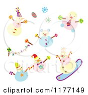 Clipart Of A Happy Snowmen With Snowflakes And Candy Royalty Free Vector Illustration
