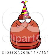 Cartoon Of A Drunk Birthday Worm Wearing A Party Hat Royalty Free Vector Clipart by Cory Thoman